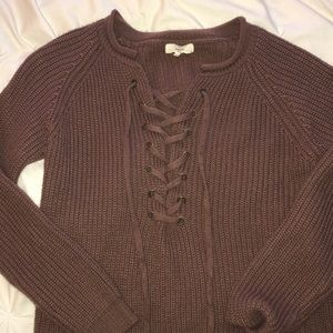 Sweaters - Lace up Brown Sweater